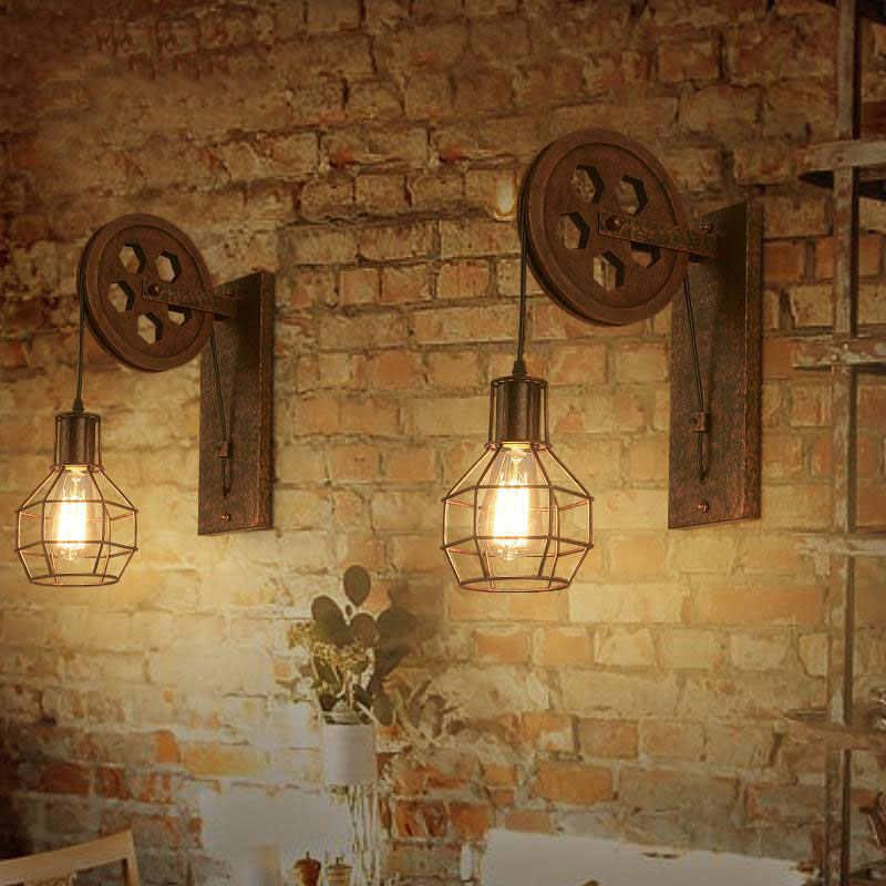 Kreatif Retro Loft Adjustable Lifting Pulley Lampu Dinding Teras Restoran Lorong Koridor Pub Cafe Bra Sconce Cahaya
