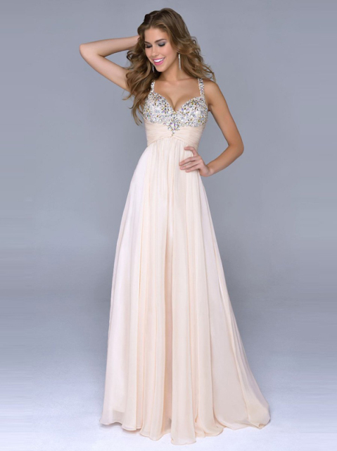 Inexpensive Crystal Long Prom Bridesmaid Dresses Long Prom Dresses