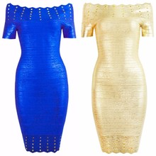 Top Qualität Kurzarm Blau Gold Slash Neck Golddruck Rayon Verbandkleid Cocktailparty-kleid