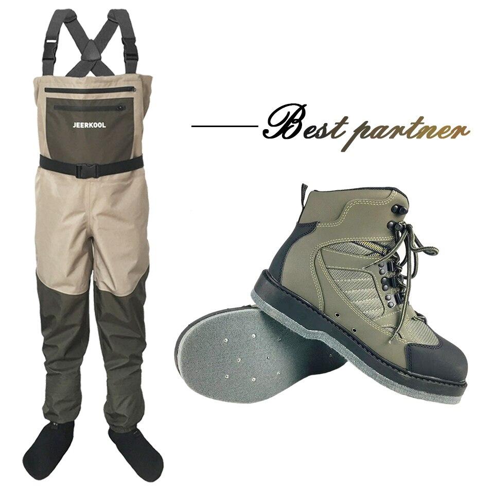 Wader da Pesca Com Mosca Calças Roupas de Trabalho Macacão Terno Vadear Sapatos Montante Sentiu Botas de Sola À Prova D' Água Sapatos de Água Vazando DXMD1