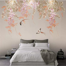 Wallpaper Wisteria flower hand-painted flowers and birds Nordic simple TV background wall high-grade waterproof material