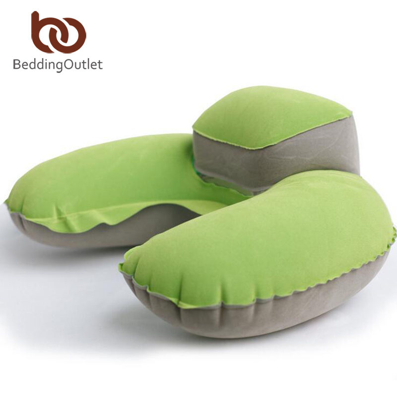 BeddingOutlet Rest Cushion Inflatable Head Rest Air U Shaped Cushion Portable Blow Up Travel Pillow With Quality Pouch 4 Colors