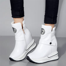 2019 Creepers Women Trainers Shoes Genuine Leather High Heel Pumps Top Wedges Platform Punk Sneakers Round Toe Casual