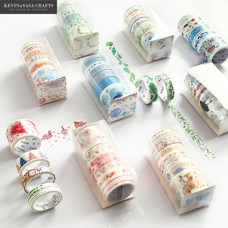 9Rolls/Set Washi Masking Tape Set Animal Fruits Paper Masking Tapes Japanese Gift Set Washi Tape Diy Scrapbooking Sticker Tape triangle masking tape