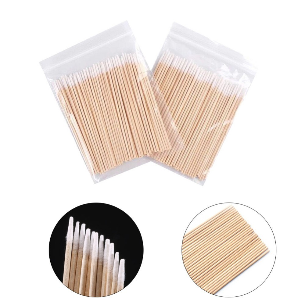 100pcs Wood Cotton Swab Cosmetics Permanent Makeup Health Medical Ear Jewelry Clean Sticks Buds Tip 7cm