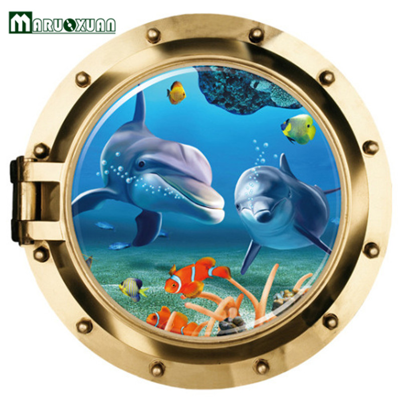 Hot Sale Style 3D Dolphins Stickers Underwater World For Sitting Room Background Wall Posters 3 d Wall Stickers Dolphins