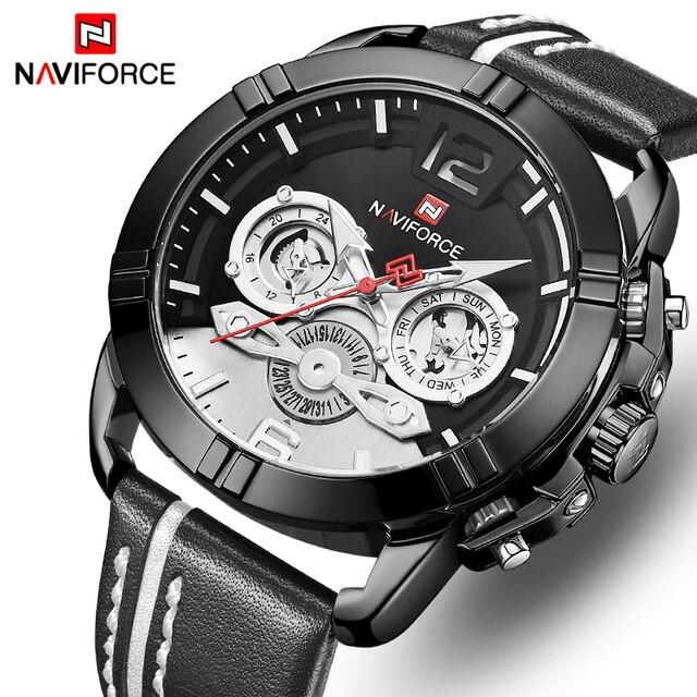 חדש NAVIFORCE גברים שעון למעלה מותג אופנה גברים של עור עמיד למים קוורץ שעון זכר 24 שעה תאריך אנלוגי שעון Relogio masculino