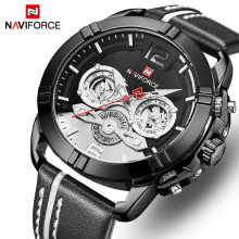 New NAVIFORCE Men Watch Top Brand Fashion Mens Leather Waterproof Quartz Watch Male 24 Hour Date Analog Clock Relogio Masculino