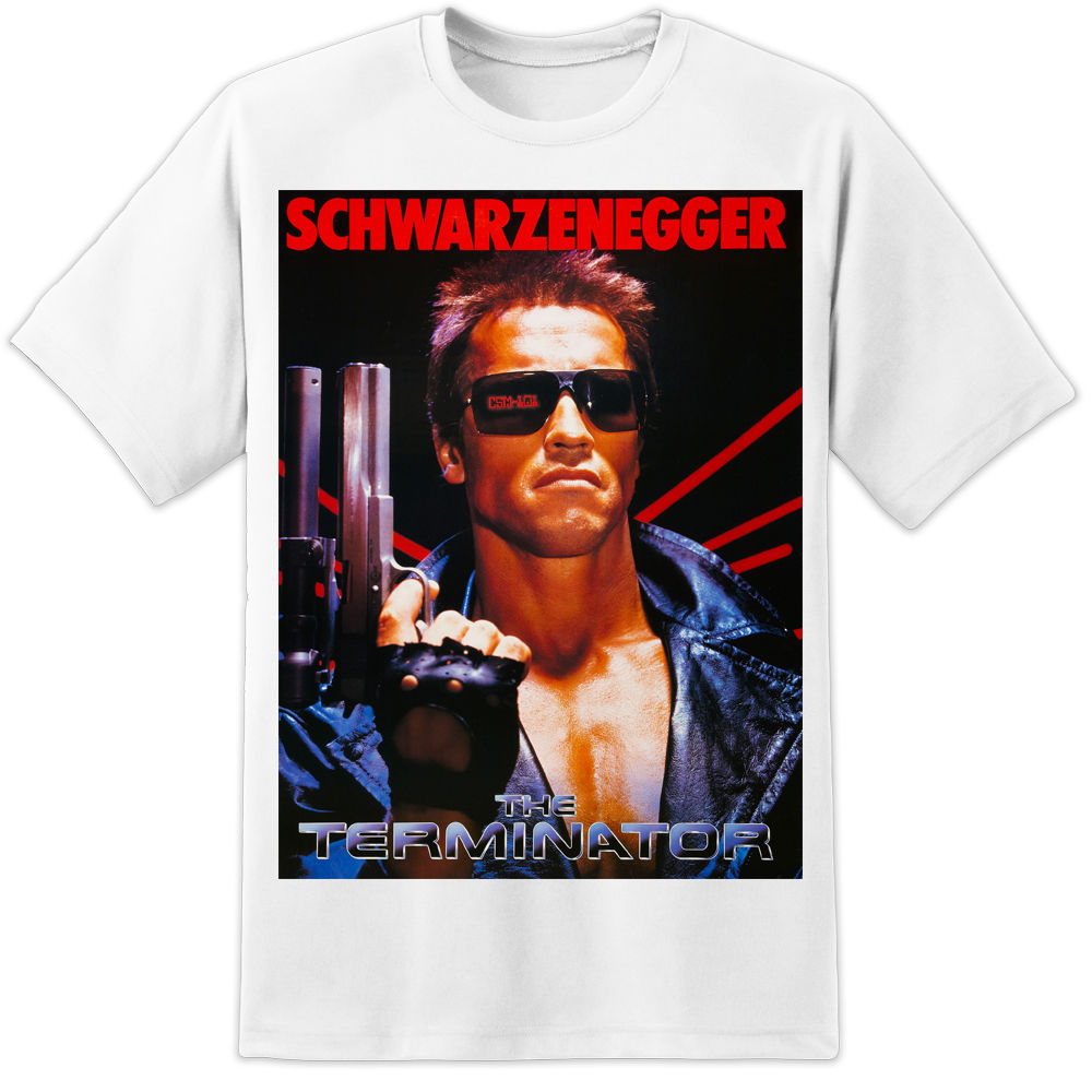 THE TERMINATOR MOVIE POSTER T SHIRT HUGE PRINT S 3XL PREDATOR ALIENS DVD Harajuku Fashion Classic Unique free shipping in T Shirts from Men 39 s Clothing
