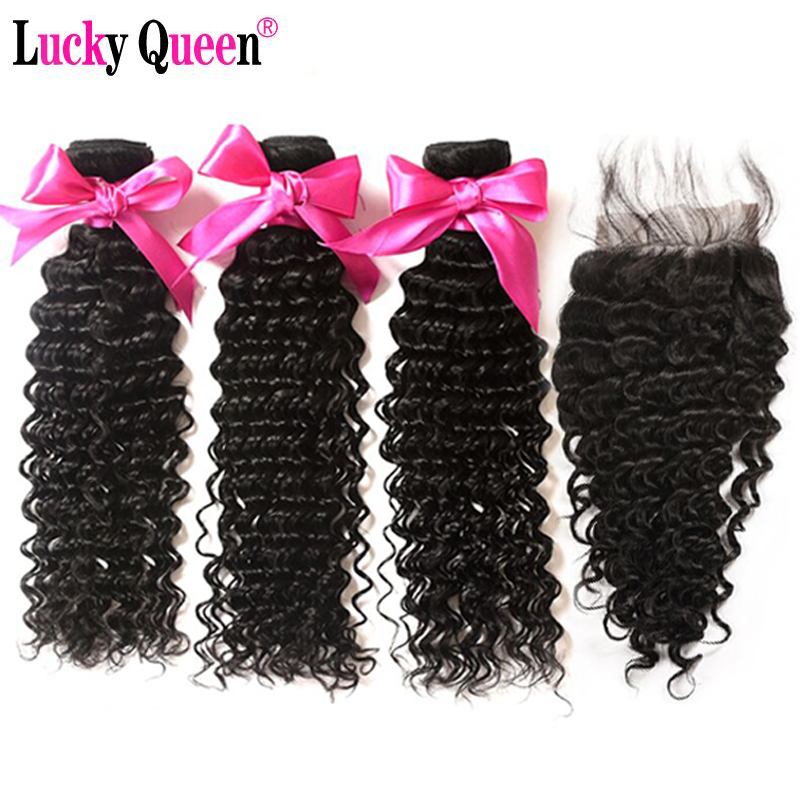 Lucky Queen Hair Deep Wave Bundles Med Lukning Non-Remy Brazilian - Menneskehår (sort)