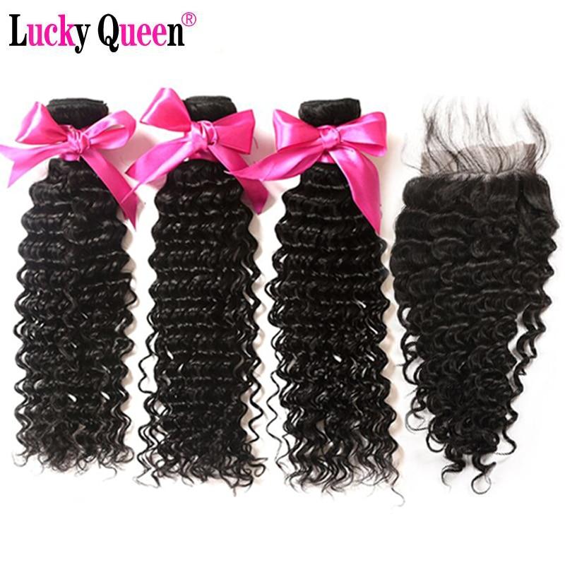 Lucky Queen Hair Deep Wave Bundles With Closure Non Remy Brazilian Hair Weave Bundles 100% Human Hair 3 Bundles With 4*4 Closure