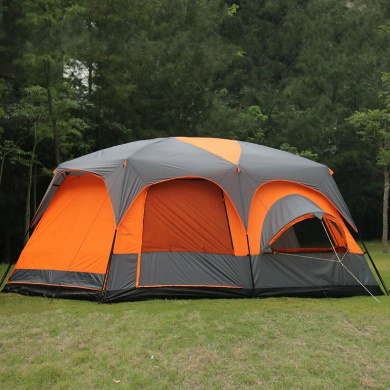Authentic outdoor tents two room Hall, defending the road 8-12 civil defense rain double large camping tent Deluxe marquee