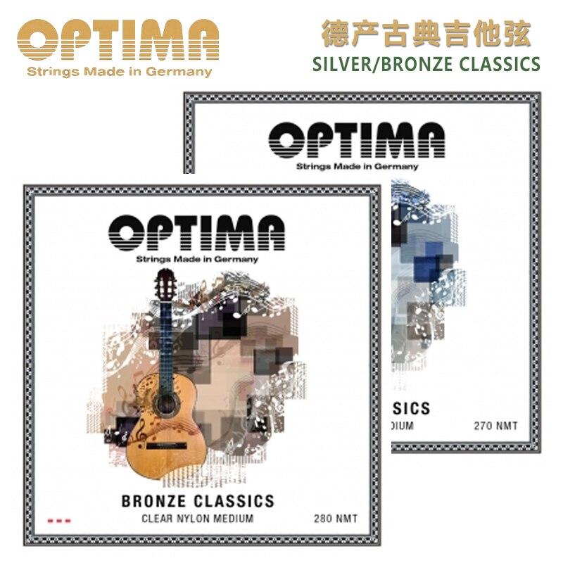 OPTIMA 270 280NMT 실버 / 브론즈 클래식 클래식 기타, 중간 장력을위한 클리어 나일론 스트링