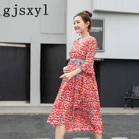 gjsxyl Floral Maternity Party Dress Ruffle Sleeve Ties Waist V Neck Summer Fashion Clothes for Pregnant Women Elegant Pregnancy