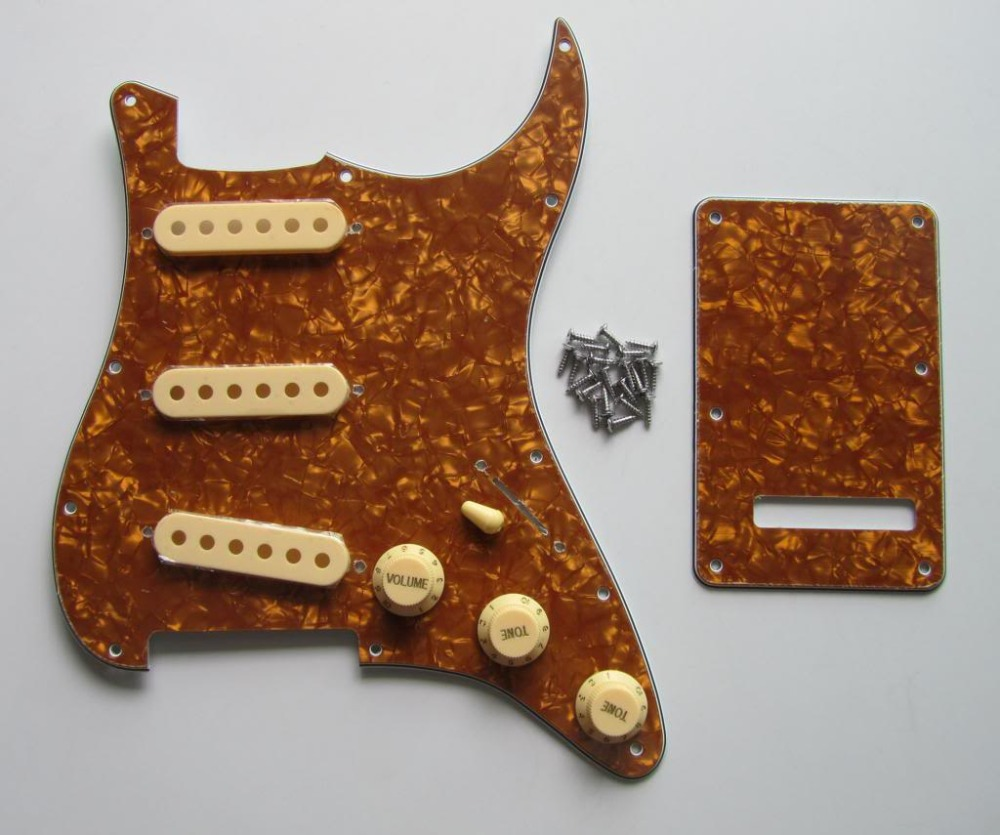 Gold Pearl Strat Pickguard,Trem Cover with Cream Pickup Covers,Knobs,Switch Tip  st pickguard back plate clear w chrome pickup covers knobs and tip