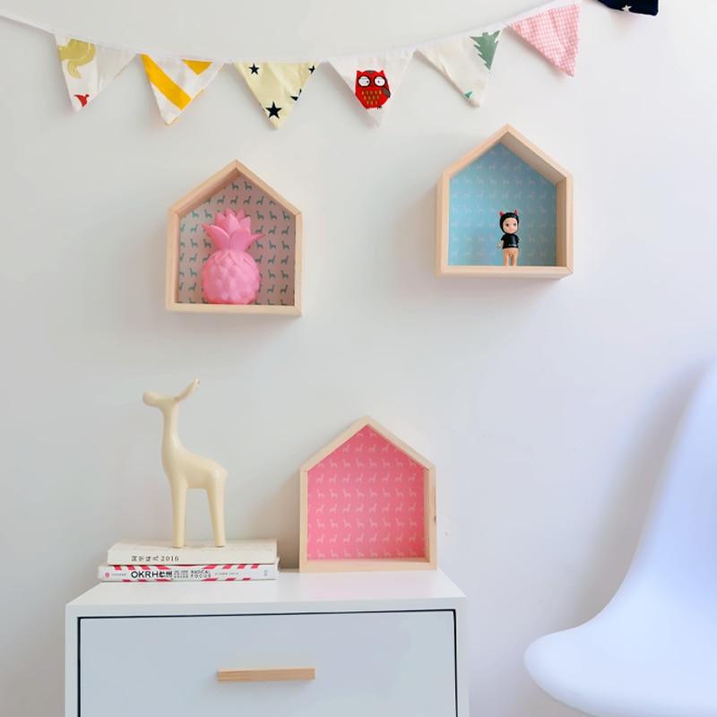 Wooden House Shape Racks Nordic Colorful Livingroom Baby Room Wall Hanging Storage Holders Creative Desktop Decoration Shelves in Storage Holders Racks from Home Garden