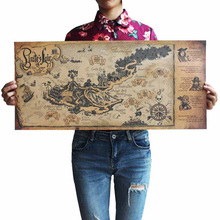 Retro Kraft Pirate Sailing World Map Poster Ancient Vintage Maps Wall Sticker For Living Room Bar Cafe Home Decor