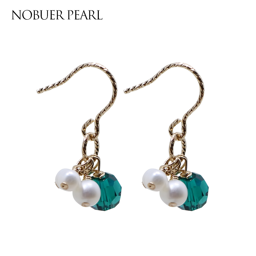 Nobuer Trendy 14K Gold Real Pearl Drop Earrings For Women To Party With 3-5mm Pearl and Green Ball Accessories Earring Hanging faux pearl ball drop earrings