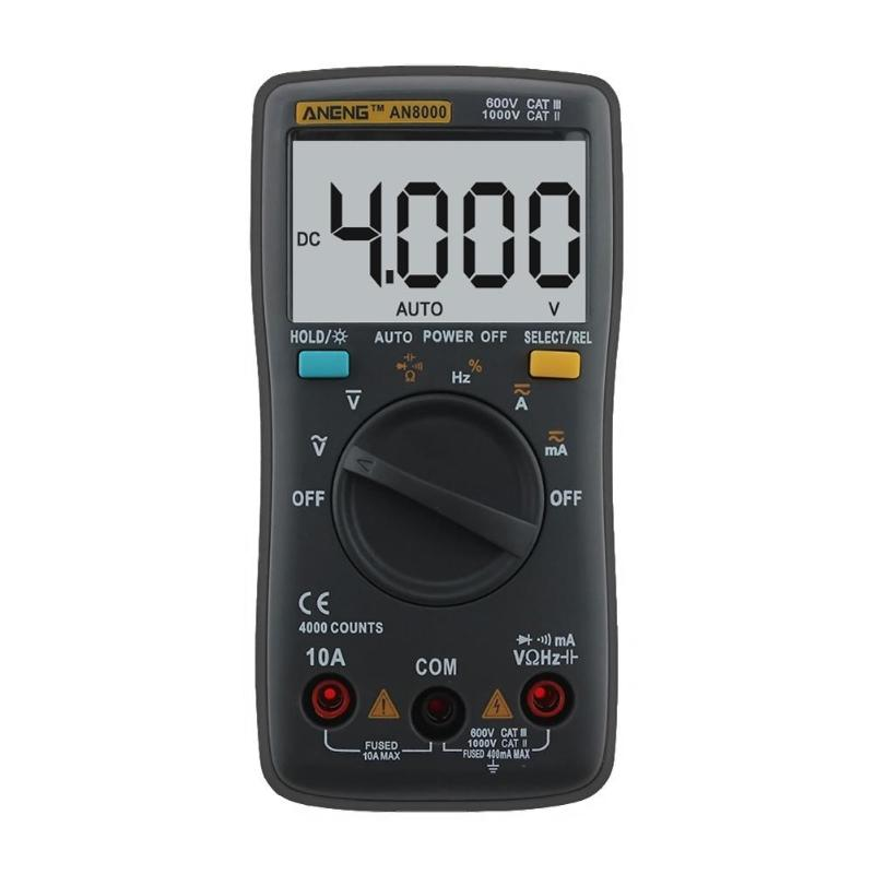 Portable AN8000 AN8002 AN8008 Auto Digital Multimeter Backlight AC/DC Transform Ohm Ammeter Resistance Capacitance Test auto digital multimeter 6000counts backlight ac dc ammeter voltmeter transform ohm frequency capacitance temperature meter xj23