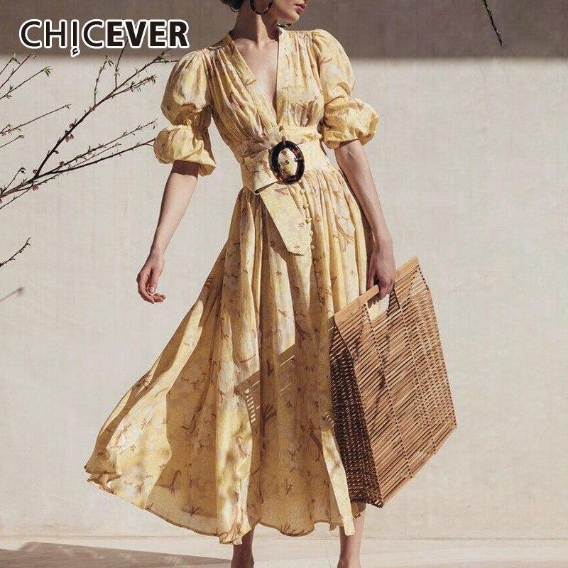 CHICEVER printemps décontracté imprimer jaune femmes robe col en V manches bouffantes taille haute mi-mollet robe femme mode 2019 nouveaux vêtements
