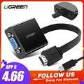 Ugreen HDMI VGA adaptörü için PS4 Pro Ahududu Pi 3 2 Chromebook TV HDMI VGA adaptörü Kablosu Ses 3.5mm jack
