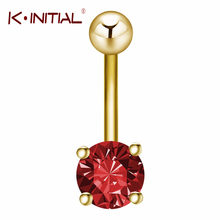 Kiniial 1PCS Trendy Ball Red Navel Ring Stainless Steel Piercing Belly Button Rings Women Body Fashion Summer Style Jewelry(China)