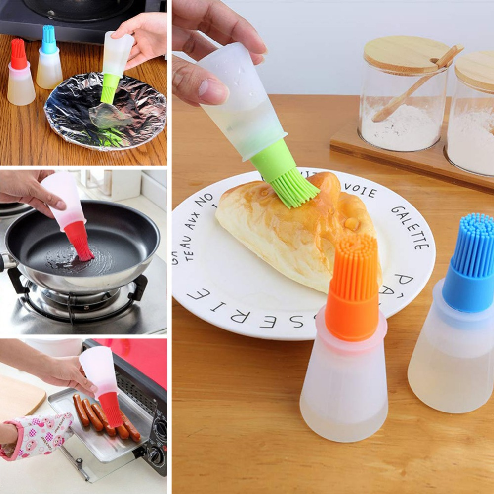 1pc Portable Silicone Oil Bottle Baking Brush Pastry Honey Oil Brushes Kitchen Pancake Barbecue Tool Accessories Drop Shipping Home Appliance Parts