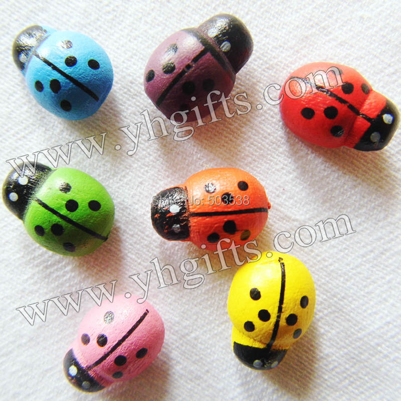 100PCS LOT 7Color ladybug stickers Scrapbooking kit Kids toys Garden ornament Easter crafts Spring decoration Plant