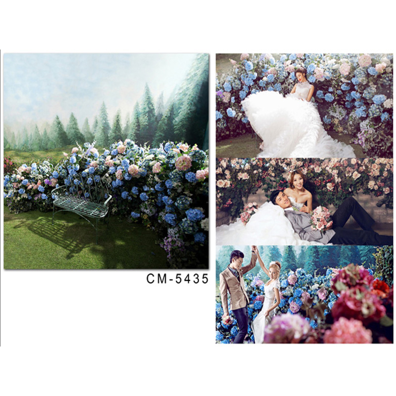 Wedding Background The Blue Sky and White Clouds Party Photo Backdrops Tree Flower Chair Background for Photographic Studio blue sky white clouds beach coconut tree backdrops fotografia fundo fotografico natal background photograph