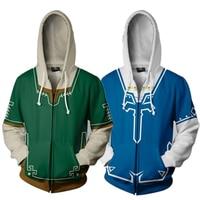 The Legend of Zelda Green Blue 3D Print Hoodies Sweatshirts Cosplay Hooded Casual Coat Jacket