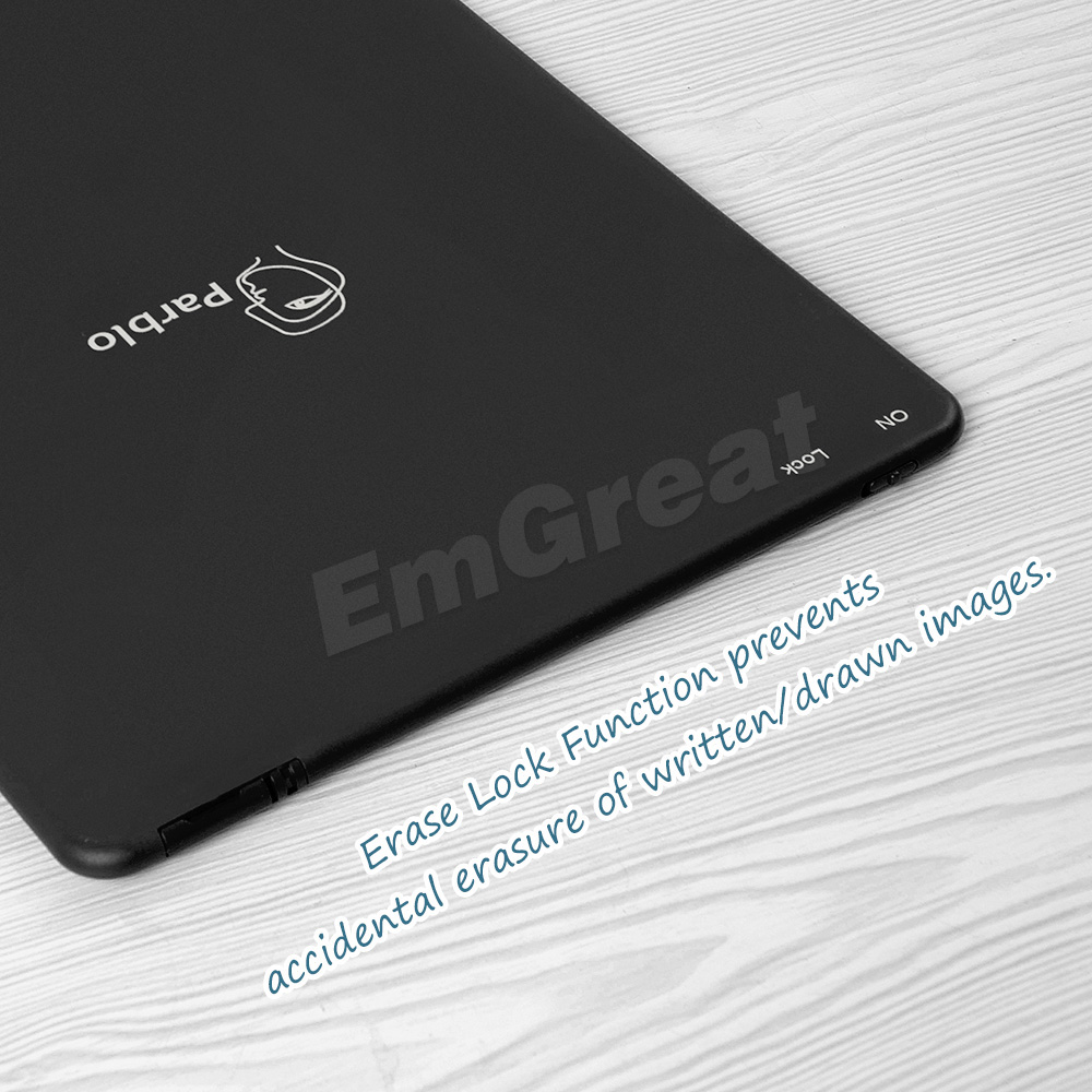 Parblo Pearl P10 10 Ultra-thin LCD Writing Tablet Portable E-Writer Paperless Notepad with Erazer Lock Button Black
