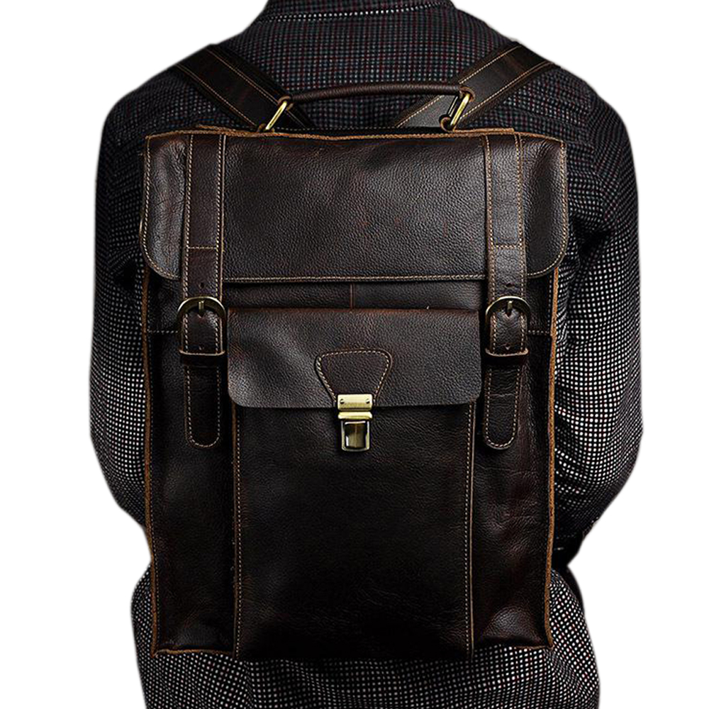 Fashion Vintage Style Men Genuine Leather Backpacks Large Space 14 Inch Loptop Bags Casual Travel Shoulder BagsFashion Vintage Style Men Genuine Leather Backpacks Large Space 14 Inch Loptop Bags Casual Travel Shoulder Bags