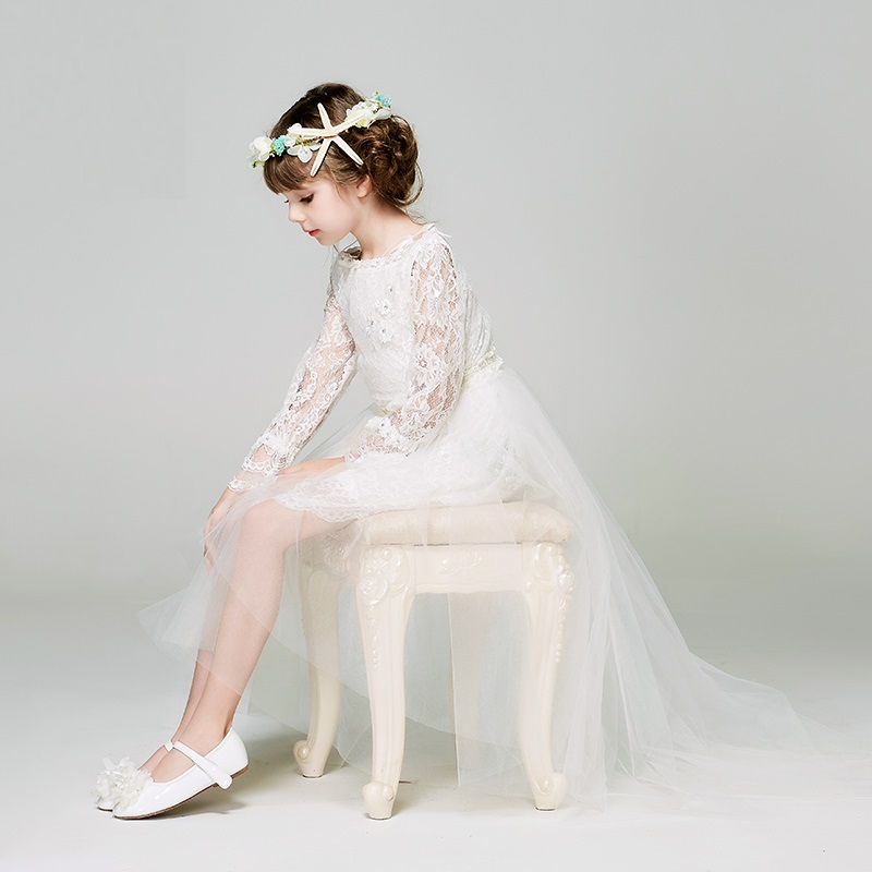 Princess Children Lace Dress Flower Girl Wedding Dresses for Host Piano Performance Summer Detachable Tail