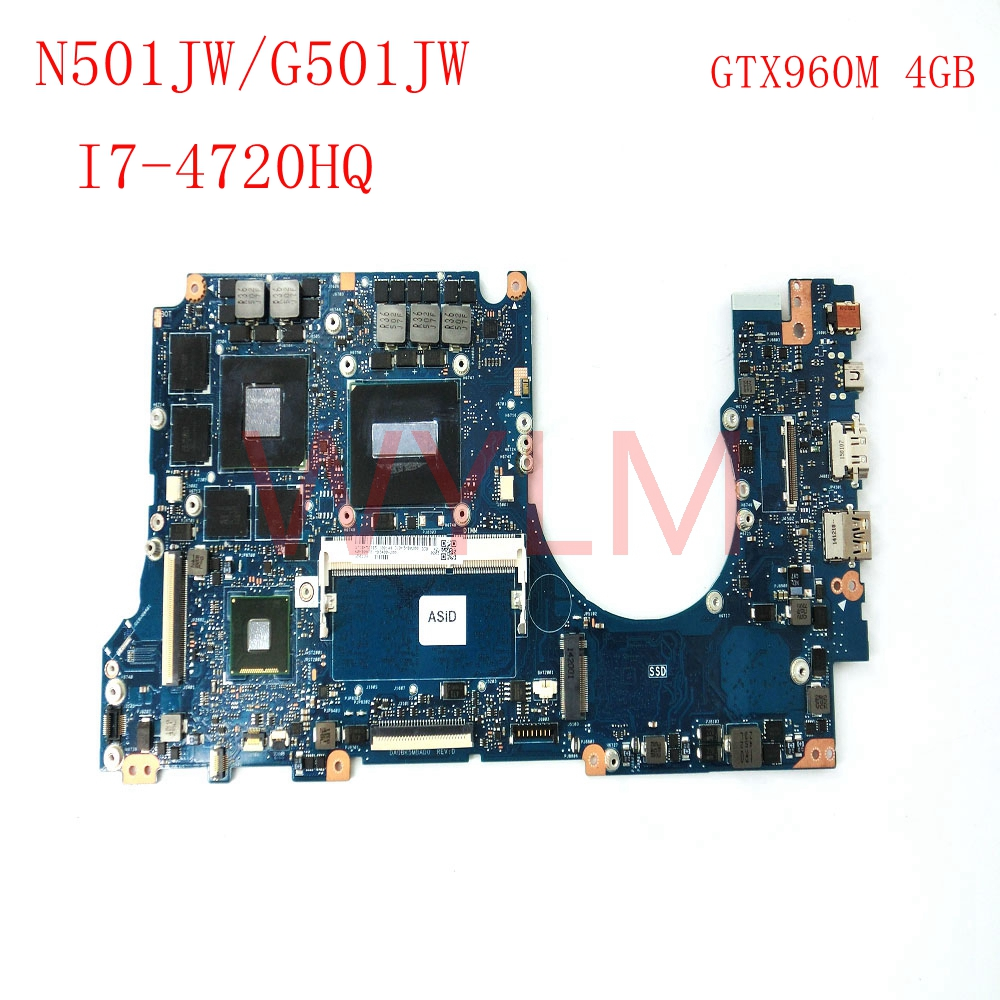 free shipping G501JW with I7-4720 CPU GTX960M 4GB mainboard For ASUS N501JW UX501JW laptop motherboard
