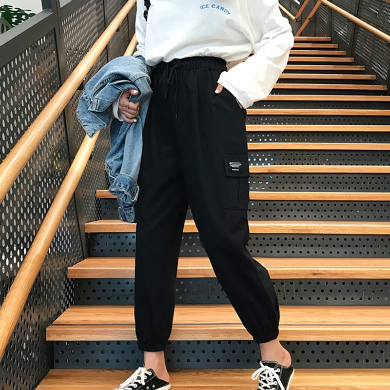 Women High Waist Loose Joggers Drawstring Streetwear Cargo Pants Solid Big Pocket Causal Pants Punk Trousers