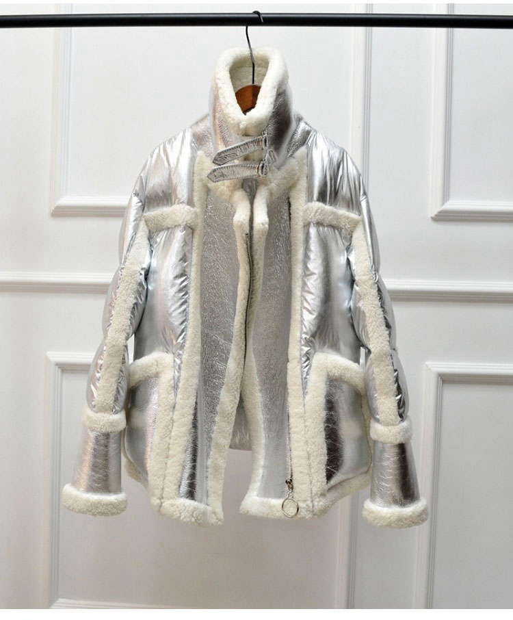 genuine leather and fur duck down coat silver (8)