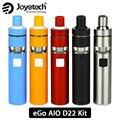 100% Original Joyetech eGo Starter Kit AIO D22 Rápida Capacidade de 1500 mAh Bateria de Capacidade de 2 ml E líquido-líquido BF MTL SS316-0.6ohm Atomizador