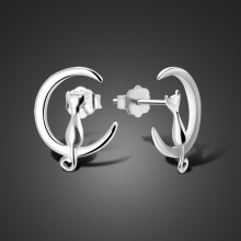 The new fashion 925 Sterling Silver Anime Stud Earrings For Women Cute Cat Earings silver jewelry boucle doreille