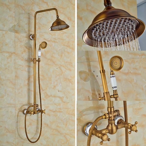 Antique Brass Bell Style Rain Shower Faucet Set Tub Spout Mixer Tap W/ Hand Shower Wall Mounted Shower antique brass 8 rain shower faucet set double corss handles tub mixer hand unit