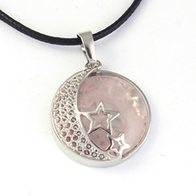 FYJS Unique Female Jewelry Silver Plated Star Round Natural Rose Pink Quartz Pendant Crescent Moon Necklace