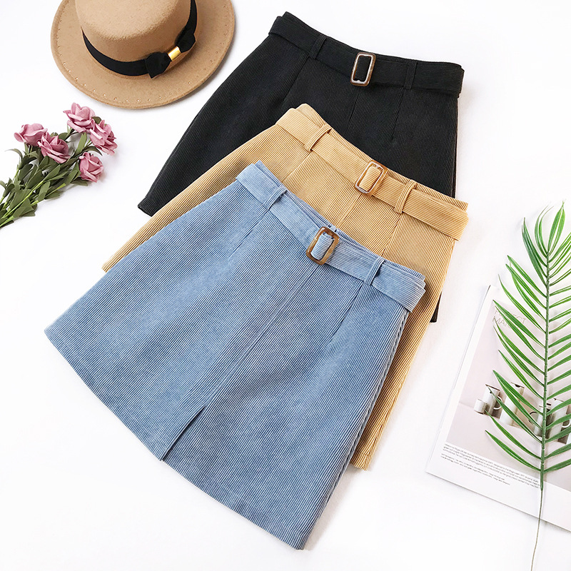 Wasteheart Autumn Women Fashion Blue Khaki Black Vintage Ployester Skirts Pockets Hight Waist Sashes Mini Skirts Streetwear