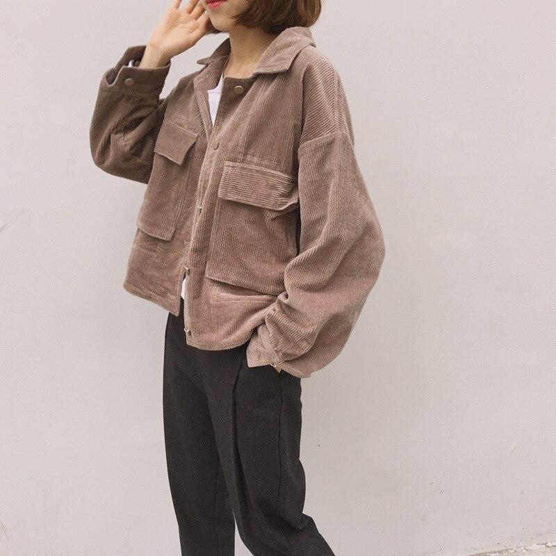 New Corduroy Jackets Women 2019 Long Sleeve Windbreaker Women Coat Spring Casual Short Outerwear Coats Basic Jackets Famale
