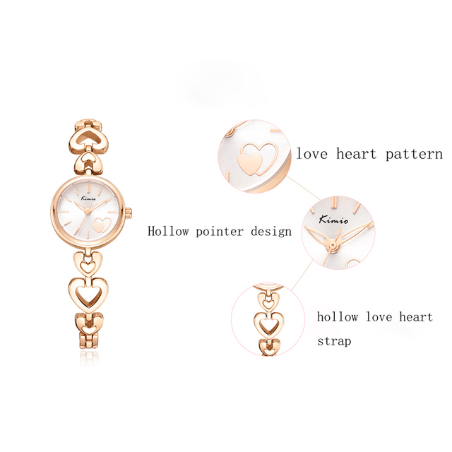 KIMIO Brand Women's Watches Shell Surface Love Heart Bracelet Watch Stainless Steel Quartz Wristwatch Ladies Dress Watch Clock