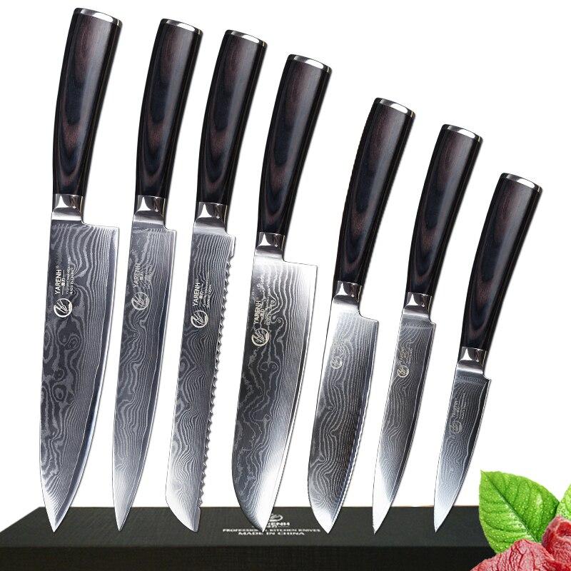 7 pcs Damas Cuisine En Acier Couteaux Ensemble Professionnel Couteau de Chef Avec Pakka Manche En Bois Japonais VG10 Couteaux De Cuisine Ensembles
