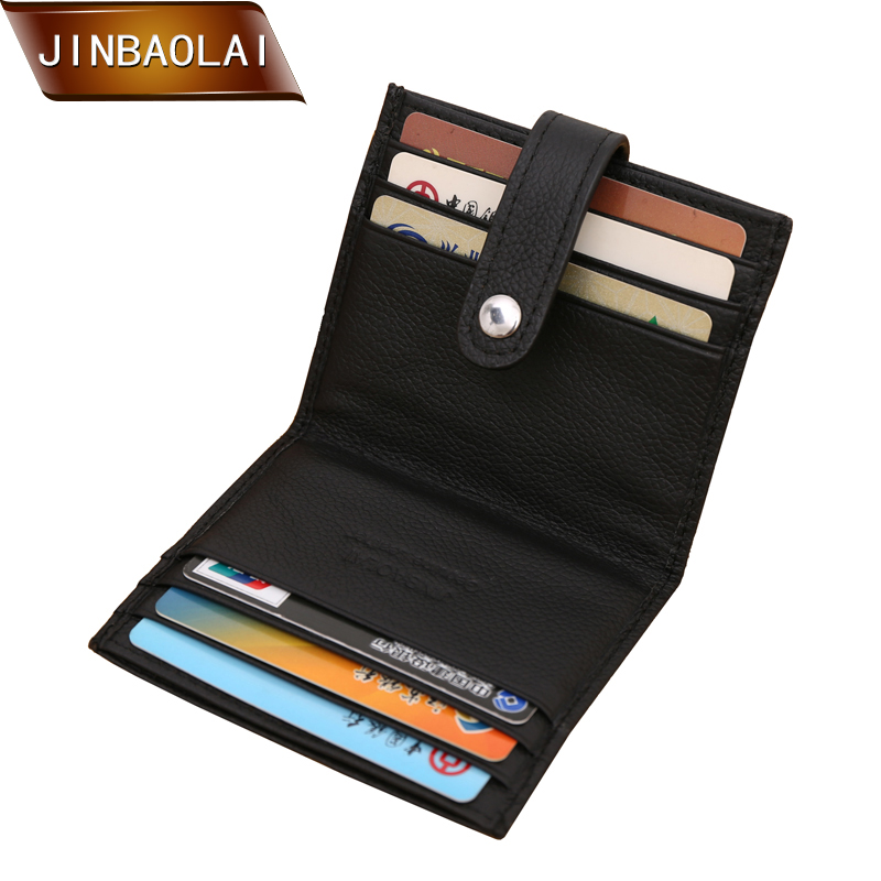 JINBAOLAI Men Genuine Leather Business Credit Card Holder Wallet Bifold Slim Mini Travel Wallet and Purse new fashion luxury mini neutral magic bifold pu leather wallet card holder wallet purse dec22
