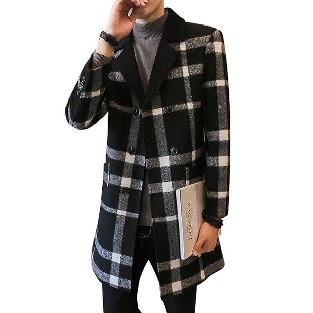 2018 Новое модное мужское шерстяное пальто в клетку с отложным воротником, двубортная полосатая жаккардовая мужская повседневная куртка средней длины