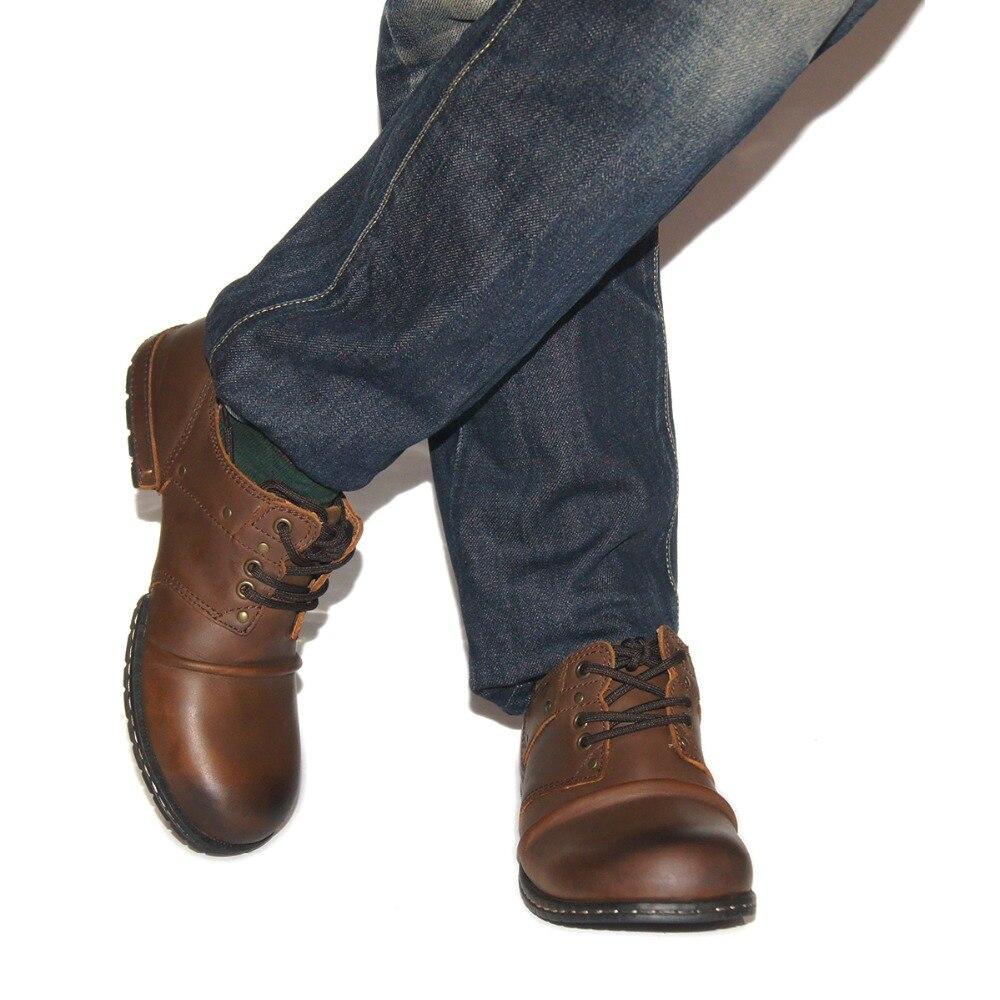 brown Moda Hombres Genuino ¡la Mejor Mano A Encaje Planos Hechos Casuales Zona De Zapatos La Los Black Tobillo Botas Otto Cuero Calidad Vaca Remache wSgxqOP
