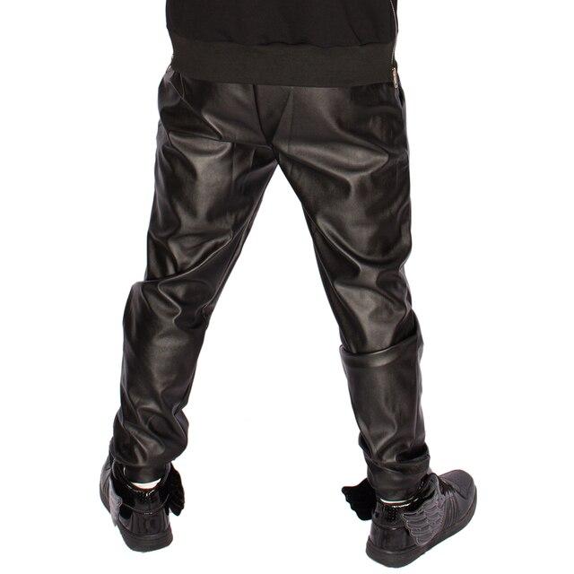 New 2017 Fashion faux leather harem pants men slim skinny pants men hip hop pants casual fashion elastic waist pants 3