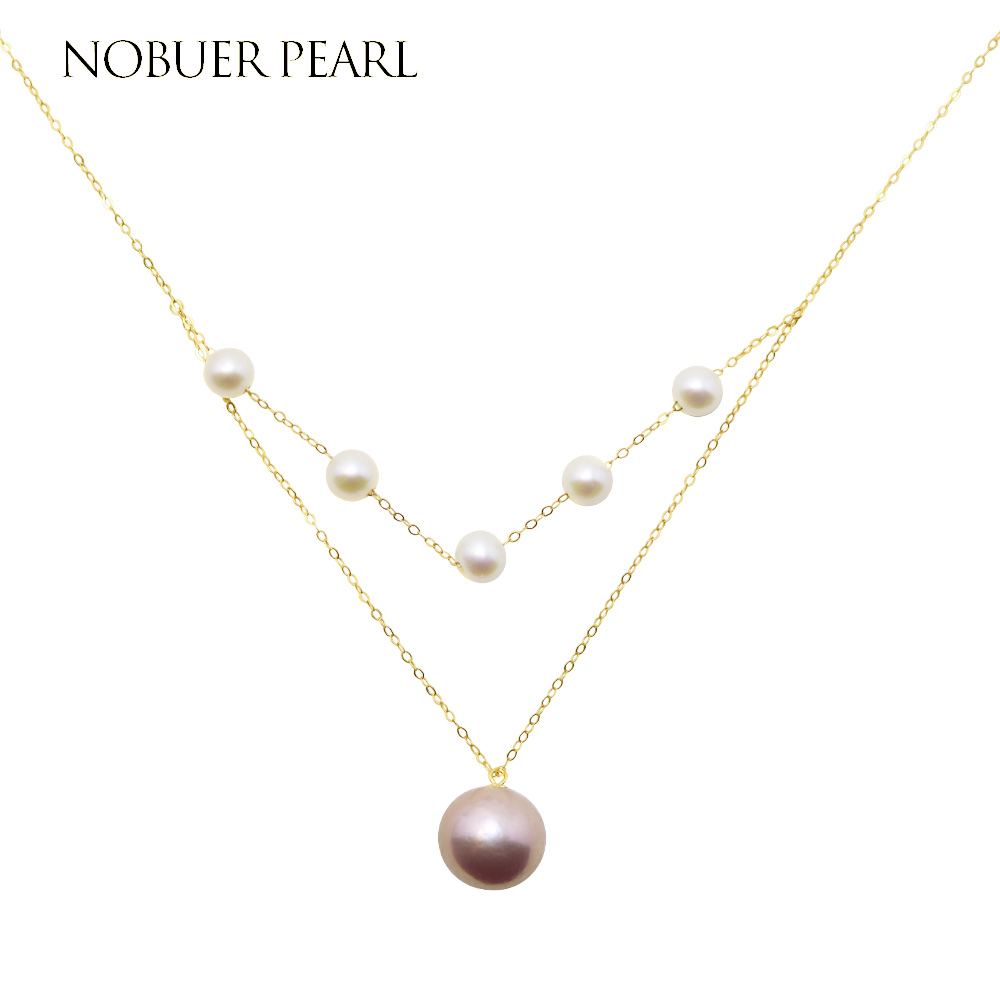 Nobuer Solid 18K Gold Or 14KGF 2 Materials to Choose Pearl Pendants Necklaces With 6-6.5mm White And 9-10mm Yellow Pearl Jewelry