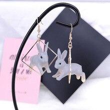 Милые яркие серьги-капли с бегущим Кроликом, милые Геометрические Квадратные серьги с кроликом, персонализированные забавные ювелирные изделия
